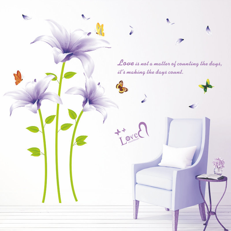 Purple Romantic Big Flower Wall Stickers Home Decor: Purple Lily Promotion-Shop For Promotional Purple Lily On