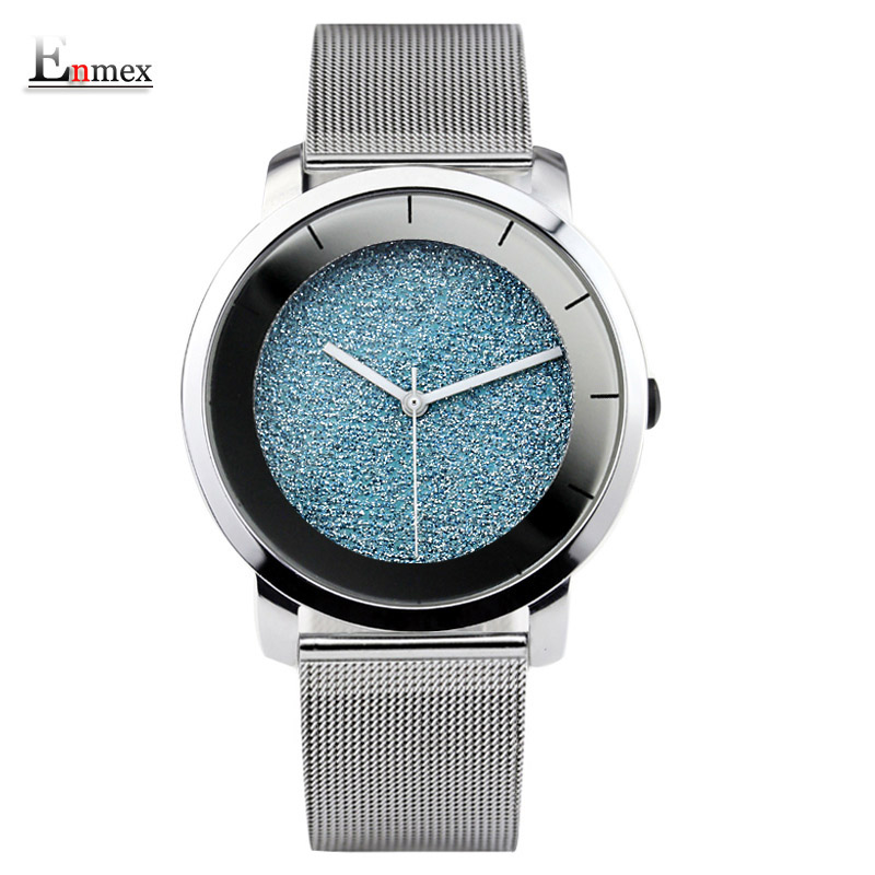 Ladies gift stylish watch Enmex creative design starlight with simple face mirror scale steel band quartz fashion wristwatch купить