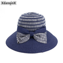 XdanqinX Elegant Adult Womens Straw Hat Foldable Sun Hats Large Visor Fashion Beach For Women Bow Decoration Female Cap