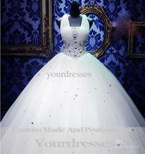 2014 Actual Images Cinderella Royal Puffy White Straps Corset Ball Gown Wedding Dresses With Crystal Organza Custom made