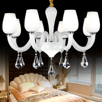 Longree Wholesale Hot Selling New Model Glass Candle Chandelier LED Cheap Arms Crystal Lustres for home deco