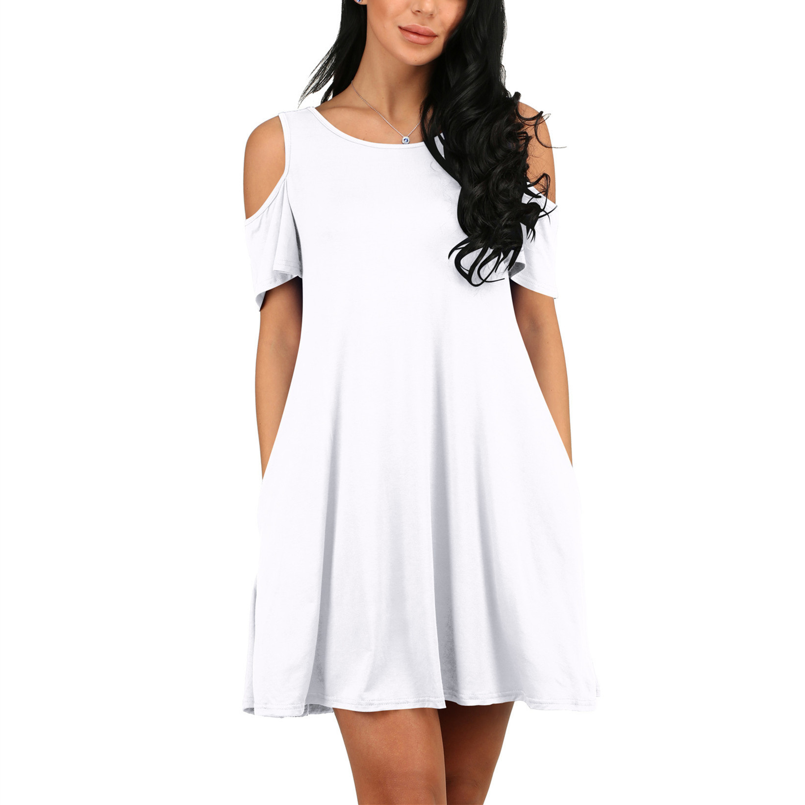 fc496fc66dd97 Style  Round neck cold shoulder swing dresses with side pocket. Garment  Care  Hand-wash with similar color and machine washable