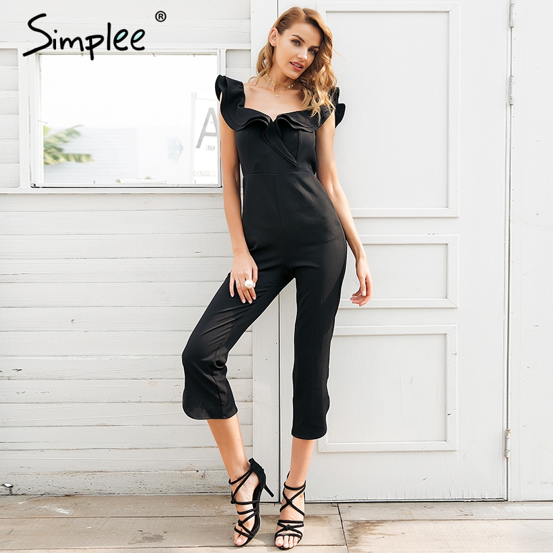 Simplee Sexy off shoulder backless black jumpsuit women Tiered ruffle high waist jumpsuit romper Pocket casual overall female