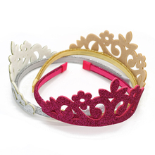 1pcs Kids Glitter Crown Hair Bands Accessories Headband Gold Sliver Red Hoop Bloom Hairband Christmas Party Ornament