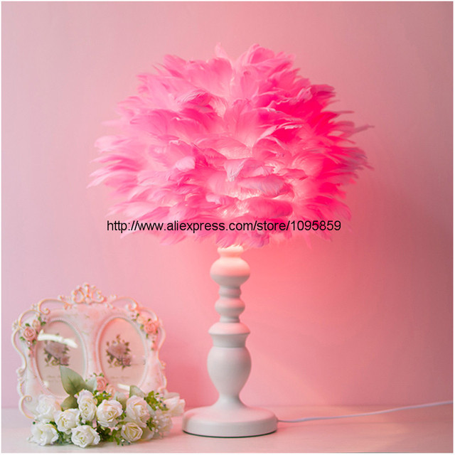 White Pink Feather Globe Shade Modern Table Lamp Light Girl Bedroom Stand  Lighting