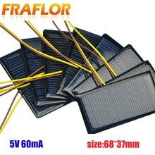 100 قطعة/الوحدة 5 فولت 60mA 68*37 الكريستالات لوحة شمسية من السيليكون الخلايا الشمسية بلاكا الشمسية 5 فولت بطارية DIY Panneau Solaire وحدات الطاقة الشمسية
