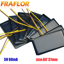 100 Teile/los 5V 60mA 68*37 Polykristalline Silizium Solar Panel Solarzelle Placa Solar 5V Batterie DIY panneau Solaire Solar Module