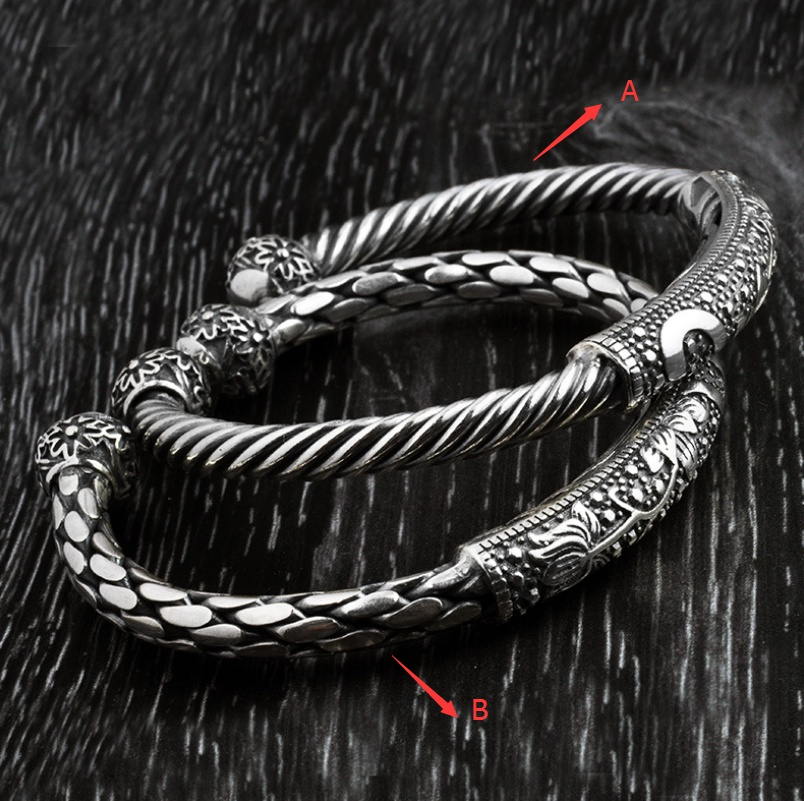S925 Silver Woven Twist Couple Jewelry Opening Retro Men and Women Ethnic Bracelet s925 sterling silver silver bracelet retro fashion jewelry made of old men and women