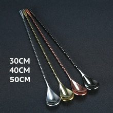 30cm/40cm/50cm Teardrop Cocktail Bar spoon Mixing Spoon 304 Stainless Steel Twisted Mixing Stir Spoon Bar Tool