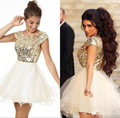 sexy short Homecoming Dresses 2015 short Sleeve Backless 2016 sequined Cocktail Party Gowns formal prom gown