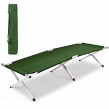 Aluminum Folding Camping Bed Outdoor Portable Military Cot Hiking Travel With Bag Outdoor Furniture OP3637(China)