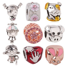 dodocharms 2019 Mother's Day New 925 Silver Girl with Pigtails Dog Beads Charms Fit Original Pandora Bracelet Clip Jewelry(China)