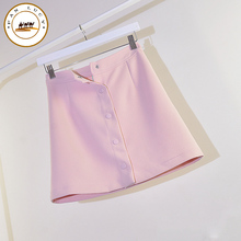 2016 summer skirts womens single breasted high waist a-line office skirt slim hip mini skirt women's OL skirt high quality