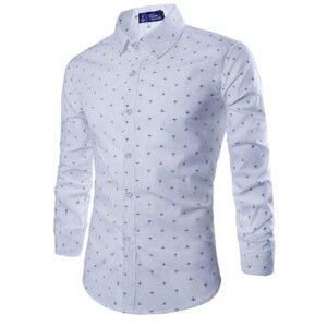 Image 2 - Мужская деловая рубашка Zogaa, Повседневная рубашка с длинными рукавами и рисунком стрелы, мягкая приталенная рубашка, 2019