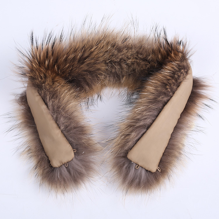 Real Fur Collar 100% Genuine Raccoon Fur Scarf 70cm Winter For Women Hot Selling