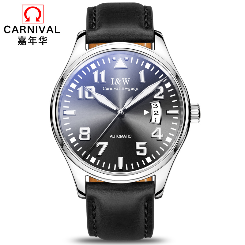 High end Mechanical watches top brand CARNIVAL Fashion Luminous Automatic Watch with Leather band,Calendar,waterproof Watch men цена 2017