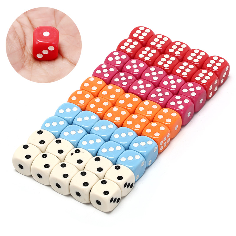 10pcs/set acrylic colorful d6 dice,6 sided gambling small dice for sale,white,red,pink,orange, blue 5 colors wholesales 14mm