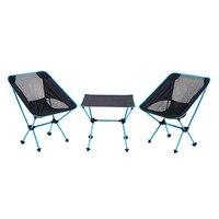 Новый На Открытом Воздухе Легкий Складной Луны Форма алюминия 1 стол + 2 стула Портативный барбекю многоцелевой стол и стул 3 шт./компл.