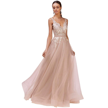 Sexy Backless Banquet Evening Dress 2019 Deep V-neck High-end Prom Party Dress Appliques a Line Formal Dresses Haute Couture