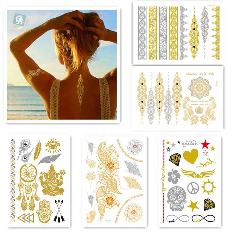 5sheets hot sell beauty body art painting tattoo stickers metal gold silver temporary flash Disposable indians tattoos