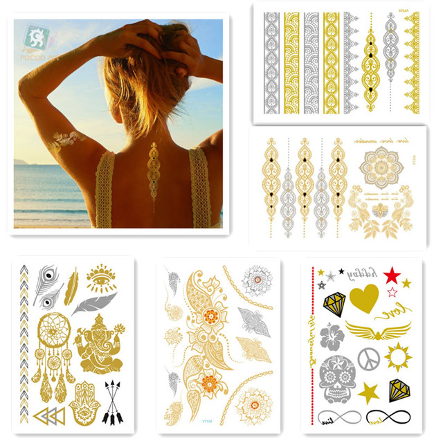 5sheets hot sell beauty body art painting tattoo stickers metal gold silver temporary flash tattoo Disposable indians tattoos