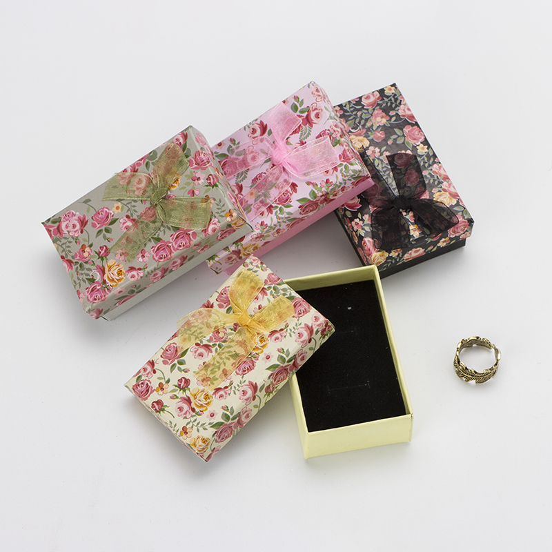 5x8cm Jewelry Set Box 16pcs/lot Necklace Earrings Ring Gift Boxes Paper Flower Floral Christmas Packaging Display Black Sponge