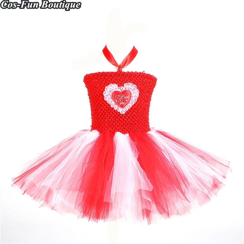 Valentine/'s Love Heart Girls Wedding Party Birthday Princess Tutu Dress Baby Kid