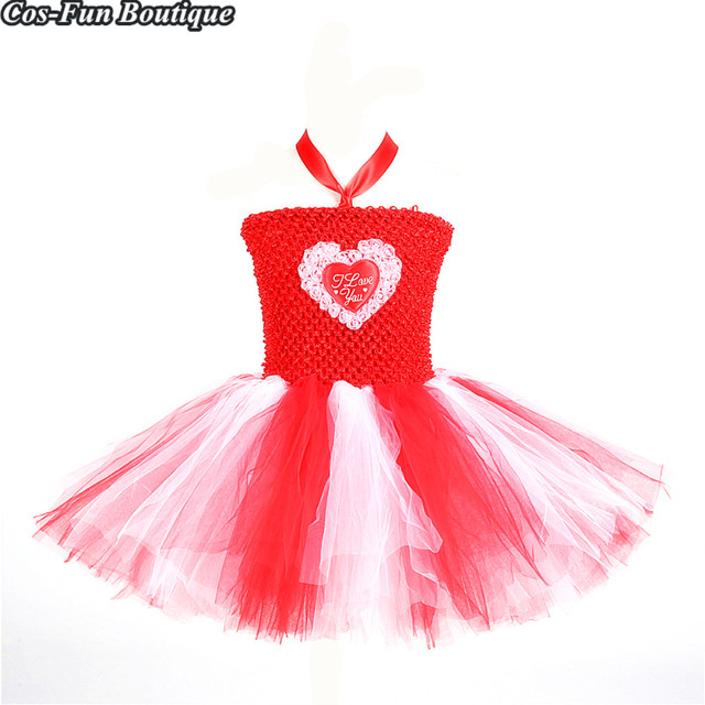 3167772911b29 Red Girl Tutu Dress Heart Pattern Princess Dress Mother's Day Valentine's  Day Costume For Kids Clothes Girls Party Dresses W182