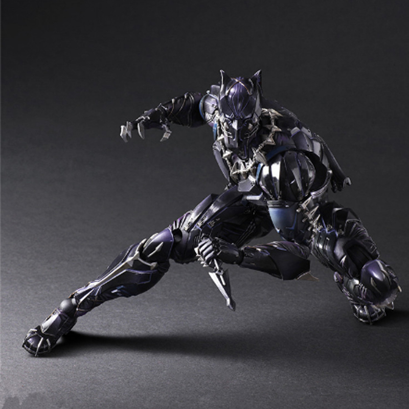28cm PLAY ARTS KAI Super Heroes Civil War PVC Black Panther Action Figure Kids Collectible Decor Model Toys Children Xmas Gift