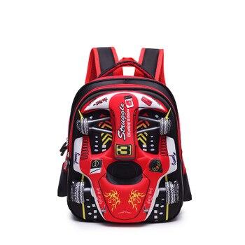 2019 Hot 3D EVA car children schoolbag racing Three dimensional waterproof schoolbag Boys and girls Lovely kids Cartoon Backpack - Medium