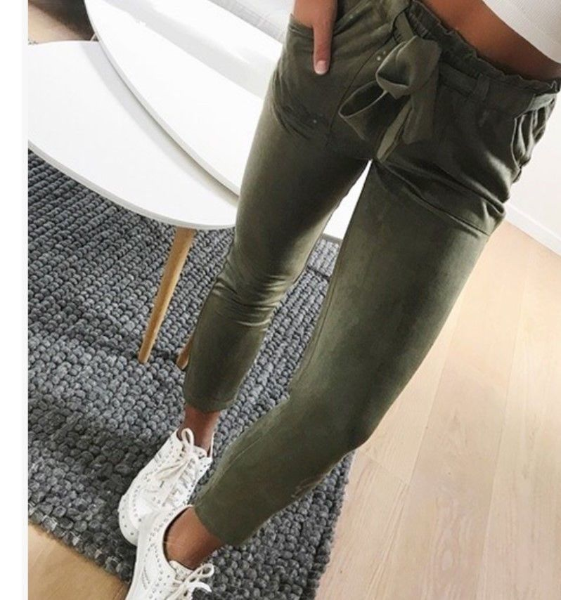 2019 Women Sexy arrival Striped Slim Skinny Casual High Waist Pencil Long Pants Trousers Flat Drawstring Bodycon Solid Pants 4