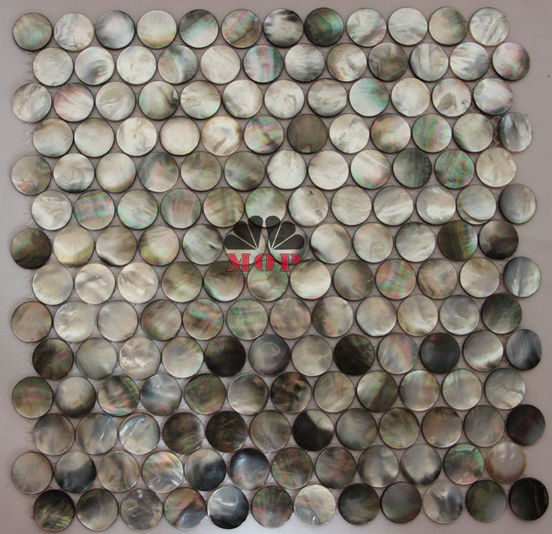 sea shell mosaics tile mother of pearl  tiles  natural black  grey round bathroom mosaic tiles home improvement free shipping free shipping wave pattern 100% natural penguin shell and chinese freshwater shell mother of pearl tile wall tile