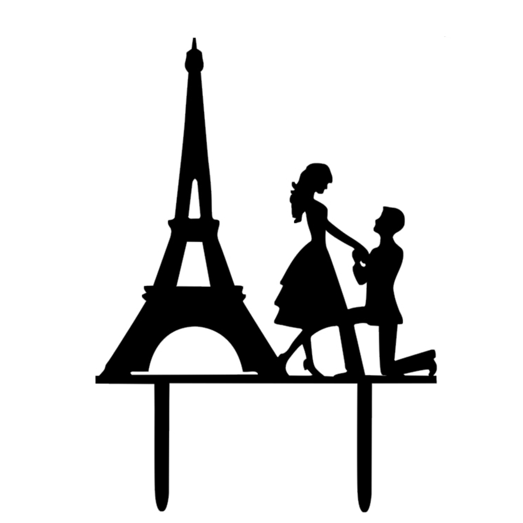 Wedding Cake Topper Proposed Cake Picks Stand Acrylic Eiffel Tower Wedding Party Cake Decor