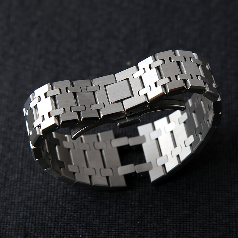 21mm 26mm argent luxe bracelet de remplacement bracelet bracelet solide lien acier inoxydable sécurité papillon boucle pour AP montre
