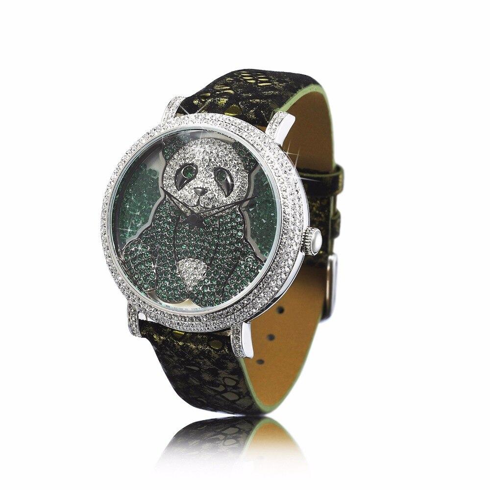 PB princesse papillon luxe dames montre cristal Panda cadran résistant à l'eau bracelet en cuir Quartz montres pour femmes HL576