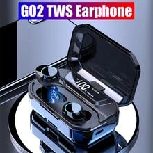 TWS بلوتوث 5.0 G02 ستيريو سماعة IPX7 مقاوم للماء سماعات لاسلكية السيارات الاقتران بلوتوث سماعة سماعة رياضية 3300mAh