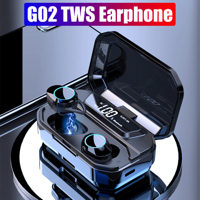 TWS Bluetooth 5.0 G02 Stereo Auricolare IPX7 Impermeabile Auricolari Senza Fili Auto Pairing Bluetooth Auricolare Sport Auricolare 3300mAh