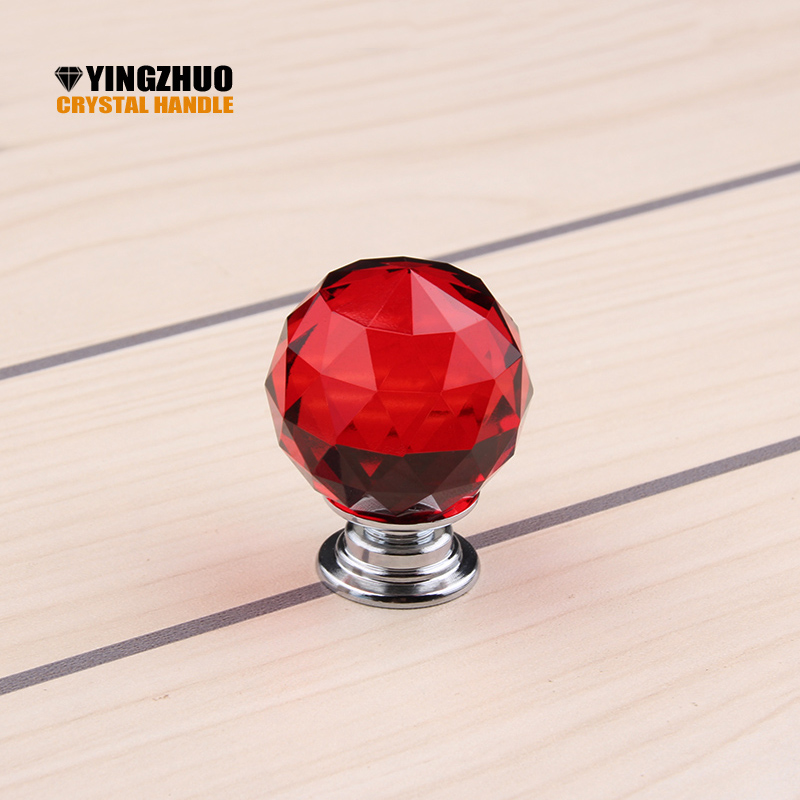 Puxadores Puxador 30mm Newest Arrival Fashion Cabinet Cupboard Wardrobe Red Crystal Glass Drawer Knob Pull Handle Free Shipping дверная ручка door handle puxadores hg h14122501