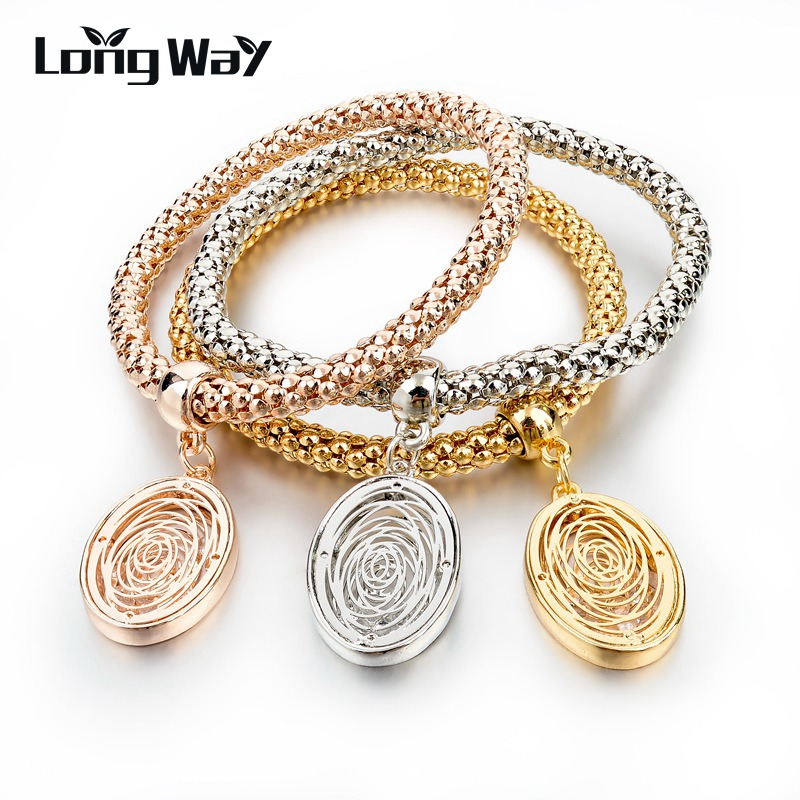 longway elastic charm bracelets for gold color oval