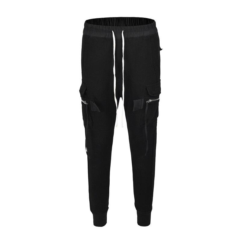 Noir Icon Ro foncé Style hommes poches latérales pantalon crayon hommes Hip Hop Patchwork Cargo déchiré pantalons de survêtement pantalons de jogging