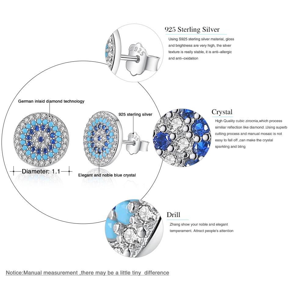 BELAWANG Luxury 100 925 Sterling Silver Elegant Round Crystal Lucky Eye Stud Earrings for Women Fashion Jewelry Brincos in Stud Earrings from Jewelry Accessories