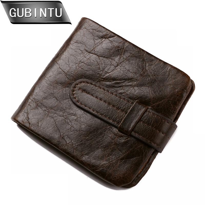 GUBINTU Wallet Vintage Genuine Leather Men Short Bifold Wallets Card Holder Purse Coin Pocket Male Zipper Purses