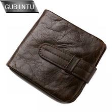 GUBINTU Wallet Vintage Genuine Leather Men Short Bifold Wallets Card Holder Purse Coin Pocket Male Zipper
