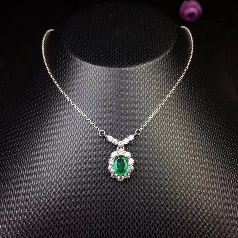Classic natural emerald necklace royal style world famous gem good quality low price 925 silver