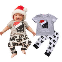0-3Y Baby Clothes Christmas Batman T-Shirt Top and Pant Bottom 2PCS Outfit Kids Clothing Set