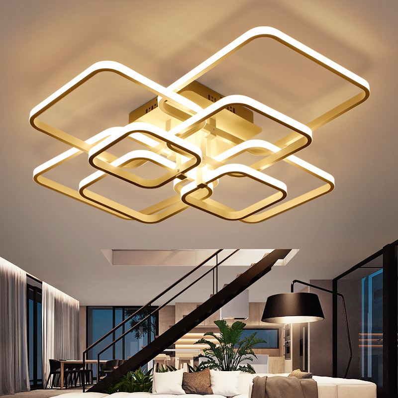 FREE Rectangle Acrylic Aluminum Modern Led ceiling lights for living room bedroom  New White modern Ceiling Lamp Fixtures90-260V white black modern led ceiling lights for living room bedroom square rectangle home dec modern led ceiling lamp free shipping