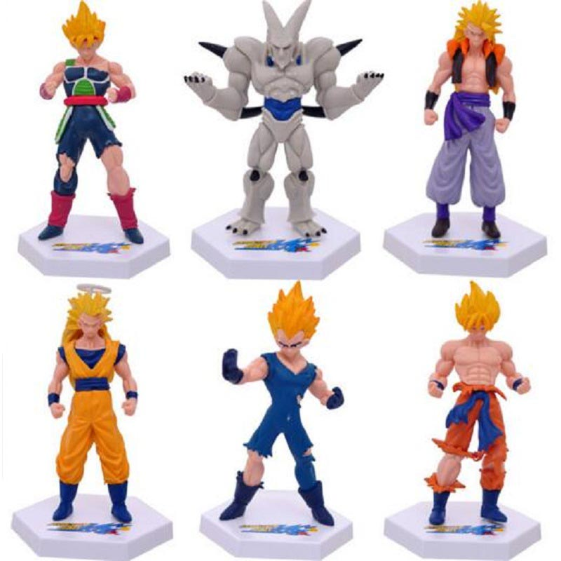 A Set-6pc Dragon Ball VEGETA Son Goku Son Gohan Cell Pvc Activity Action Figure Model Toy Diy Display Toy Cartoon Birthday Gift shfiguarts dragon ball z vegeta pvc action figure collectible model toy 6 5 16cm