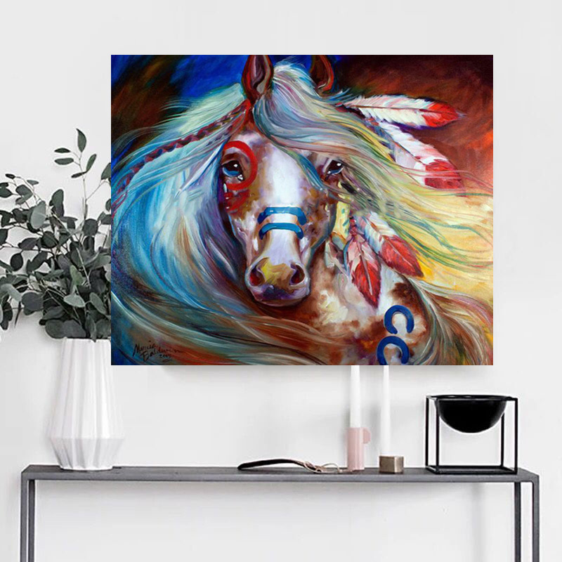 Hand Painted Custom Wall Art Running Horse Canvas Oil Painting To Print|Painting & Calligraphy| |  - title=