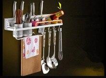 1PC 40cm,50cm New Convenient Space Alumiuium Kitchen Cookware Bathroom Racks Storage Holders With 6 Hooks OK 0706