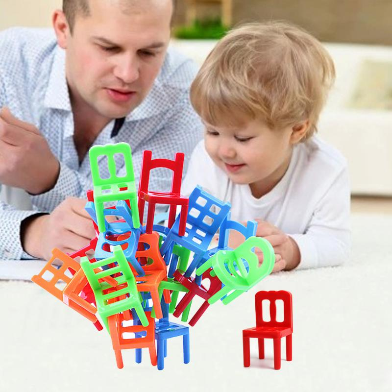 18Pcs Mini Chair Toy Plastic Balance Stacking Chairs Desk Play Game Child Interactive Toys for Kids Child Chidren Present Gift